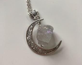 Titanium Aura quartz crystal quartz crystal necklace moon pendant crescent moon crystal jewelry crystal quartz pendant crystal raw crystal