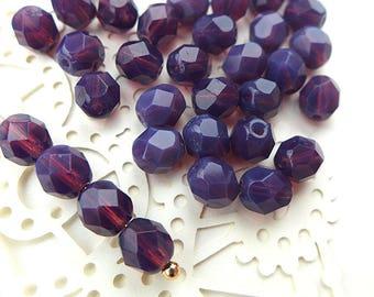 Czech Glass Beads Faceted 6mm - MILKY AMETHYST- 50pcs