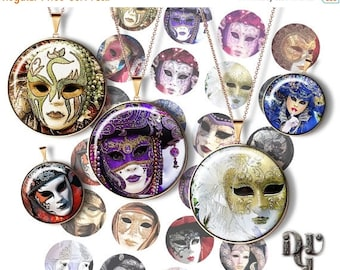 """GREAT SALE CARNIVAL Mask 1.5"""" bottle cap images Masquerade for Cabochons Jewelry Images Venice Carnival Printable Digital Collage Sheet Down"""