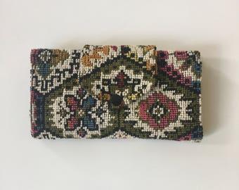 Vintage Carpet Fabric Wallet 1960's Hippie Bohemian