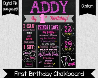 Pink First Birthday Chalkboard - Girl First Birthday Chalkboard - Birthday Party Decor - 1st Birthday Sign - Digital - Any Colors - One