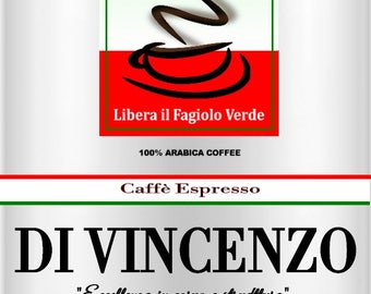 Whole bean, fresh roasted coffee. DI VINCENZO Espresso # 5,  a dark coffee, alluring and aromatic. 2oz perfect for one pot of coffee