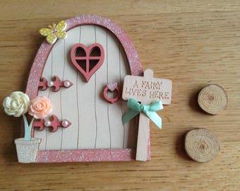 Pretty Hand Painted  Magical Glittery Fairy Door