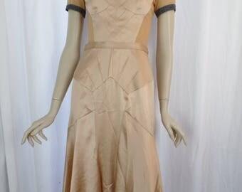 vintage DOLCE & GABBANA nude mesh + silk bustier dress/ stretch silk memaid skirt / see-thru back: size US 6-thin 8