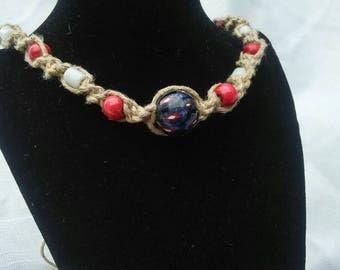 Big, bead, hemp, necklace, handmade, hippie,