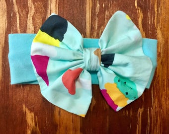 Ice Cream Cones Headband Bow