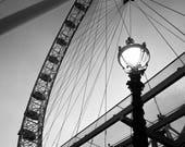 Black and White London Eye Photograph, London Ferris Wheel, Minimalist Print, Modern Wall Art, Modern Office Prints, Urban Cityscape Photos