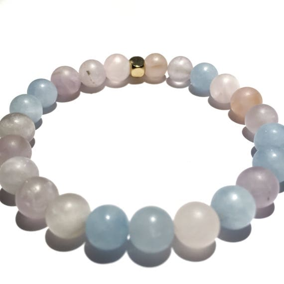 SPECIAL EDITION Love & Light Matte Cotton Candy Quartz beaded Bracelet, unisex, gemstone, Meditation, Yoga, Mala, Gold Plated, mens, womens,