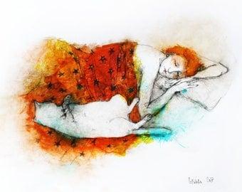 Original Watercolor painting Sleeping Woman with Cat. Watercolor and Ink Painting. Watercolor woman portrait, cat wall art. Cat illustration