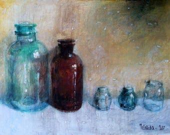 Original Acrylic Still Life painting THE BOTTLES. Acrylic Painting, Bottles wall art. Acrylic Interior still life painting. Bottles acrylic.