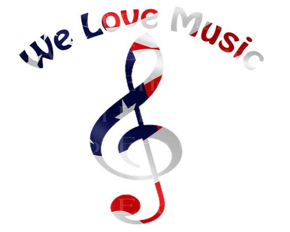 We Love Music Notes Band Patriotic Birthday - Edible Cake and Cupcake Topper For Birthday's and Parties! - D22702
