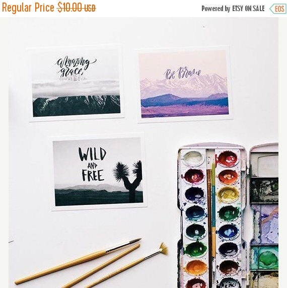 ON SALE Set of inspirational Postcards, be brave, amazing grace, and wild and free, the nature of boldness collection, snail mail