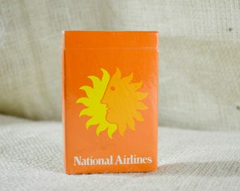 Vintage National Airlines Playing Cards, In Flight Playing Cards, Unopened Deck, Airline Collectible, Yellow Orange and White