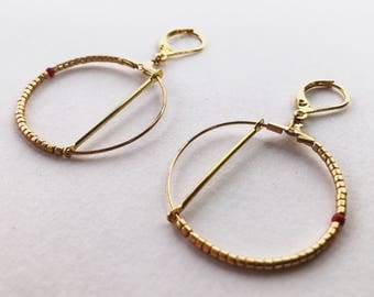 """Coconut Grove"" mini hoop gold minimalist geometric earrings"