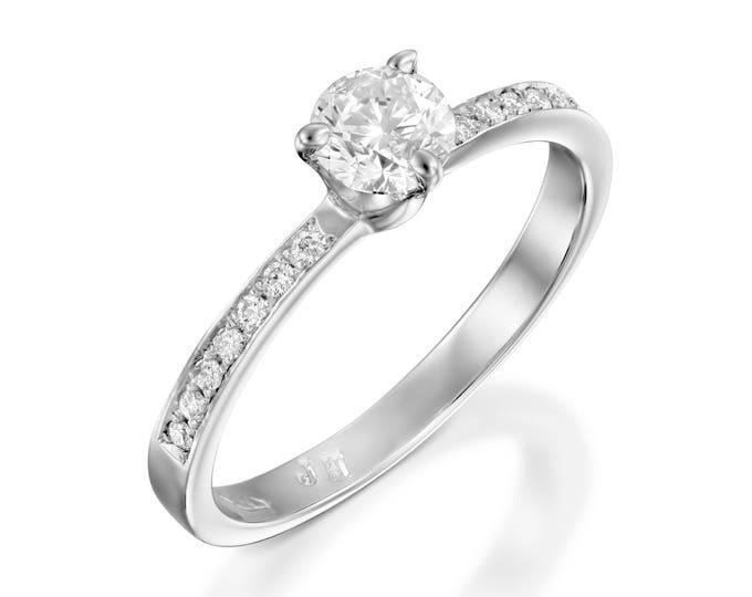1/2 carat Engagement Ring -Gold Diamond Ring-Bridal ring-Solitaire diamond engagement ring-Promise ring-anniversary ring-Art deco ring