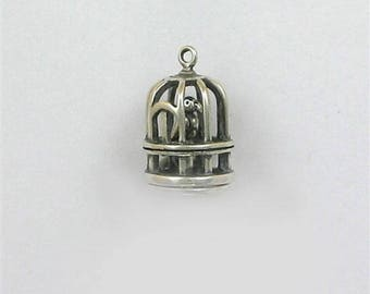 Sterling Silver 3-D Bird in a Cage Charm