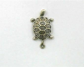 Sterling Silver 3-D Painted Turtle Charm