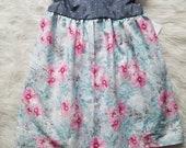 SALE! Blue floral dress, watercolor floral dress, vintage baby dress, floral baby dress, toddler floral dress, handmade floral dress,