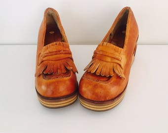 70s Clogs Platform Wedge Wood Cut Out Heel Leather Wooden Shoes Size 7.5 M 37 38