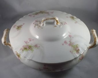 Antique Limoges Soup Tureen With Lid  White Porcelain Delicate Pink Blossoms Circa 1900 Theodore Havilland, France