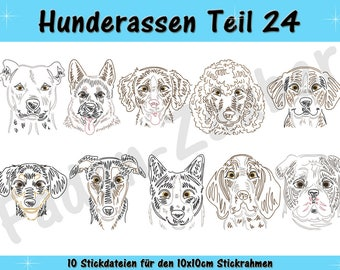 Dog breeds part 24 - embroidery-set for the border 10x10cm