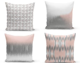 Blush Pillow Covers, Blush Grey White, Decorative Pillow Covers, Home Decor, Throw Pillow Cover, Geometric