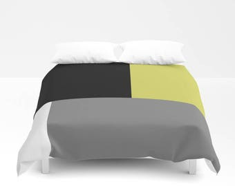 Color Block Duvet Cover, Twin Queen King, Black White Grey Lime