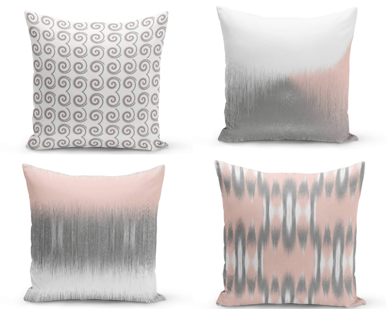 Blush Pillow Covers Blush Grey White Decorative Pillow