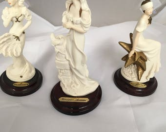 """Giuseppe Armani Minatures 3 Signed Figurines  """" The Society """" Starr Chantal and Lady Dove Florence Lady Figural Collectibles"""