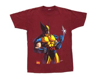 Vintage Wolverine Maroon T-Shirt Large 90s Marvel Comics Book Weapon X