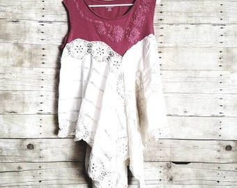 Pink Sunshine Shabby flounce linen tunic gypsy floral ruffle  rustic Boho altered dress top M
