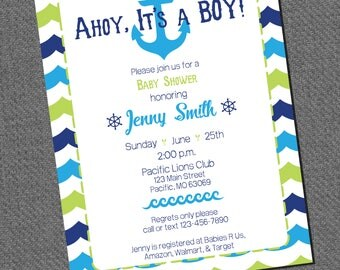 Ahoy! It's A Boy Baby Shower Invitation