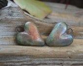 Handmade Porcelain Raku Heart Bead Pair