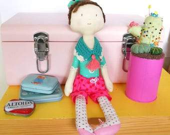 Millie heirloom doll - cloth doll - fabric and wool doll