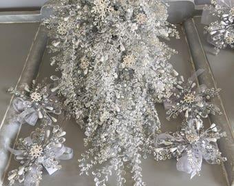 Extra large snowflake bridal shower bouquet - shower bouquet - crystal bouquet - crystal shower wedding bouquet - brooch bouquet