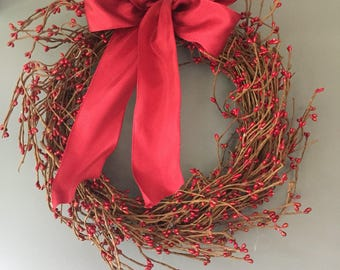 Pip berry wreath - door wreath - Winter wreath - valentines wreath - rustic wreath - natural wreath -  wreath - burgundy berry wreath