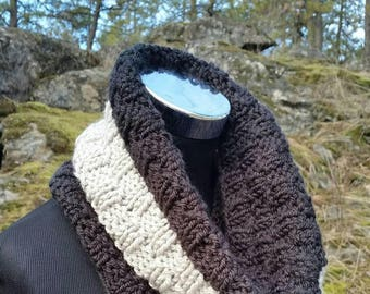 Scarf Sale, Pullover Scarf, Black scarf, Chunky Grey, scarf, Chunky infinity Cowl, Grey Scarf, Color Block cowl, Black Cowl, knitted cowl