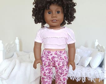 18 inch doll floral pajamas | pink floral pajama pants and crop top