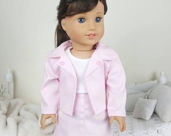 18 inch doll pink jacket & skirt | light pink jacket
