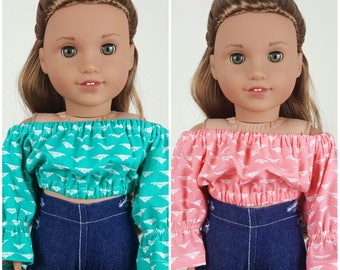 18 inch doll peasant blouses | coral crop top | teal shirt