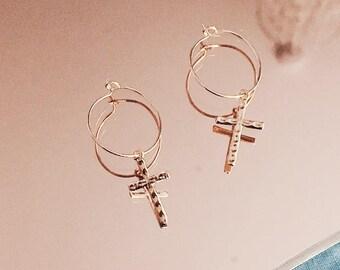 Gold Cross Hoop Earrings   Hammered Detail   Religious Jewelry   Gold Tone   Minimalist Jewellery