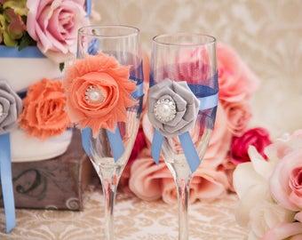 Wedding Champagne Flutes, Wedding Toasting Flutes, Bridal Champagne Glasses, Bridal and groom Flutes, Wedding Champagne Glasses