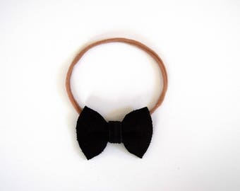 Black Suede TINY Bow Headband Photo Prop for Girls Adorable Bow for Little Girls Babies Toddlers Adults
