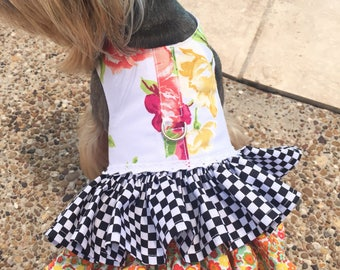 McKenzie Childs inspired Double Ruffle Harness Customizable to your dogs measurements!  Size  XXS XS Small
