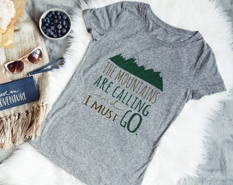 Mountain Gray Womens Tshirt -  The Mountains are Calling and I must Go Quote GIft for Her