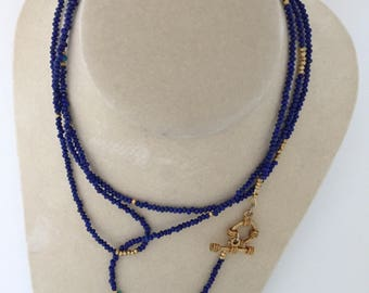 Lapis necklace with turquoise accent bead and gold vermeil