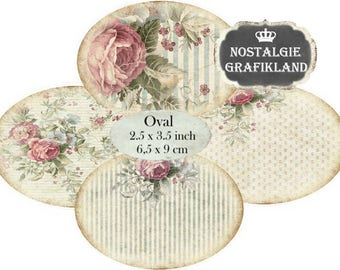 Shabby Chic Background printable Ephemera digital Oval 3.5 x 2.5 inch Pastel Roses Ovals Instant Download digital collage sheet O119