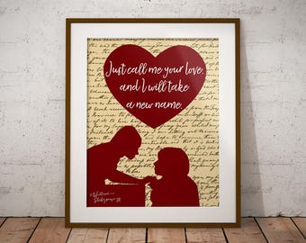 Romeo and Juliet poster, printable wall art, 16x20 print. William Shakespeare quote poster, instant download, love sign,printable home decor