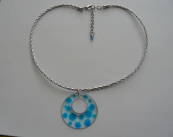 Necklace with clear resin pendant and drops blue