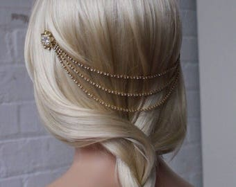 Gold Headpiece with pearls - Bohemian Wedding Headpiece - Gold chain headpiece - Bridal or Bridesmaids Hair Accessory - 1920s Headpiece - UK